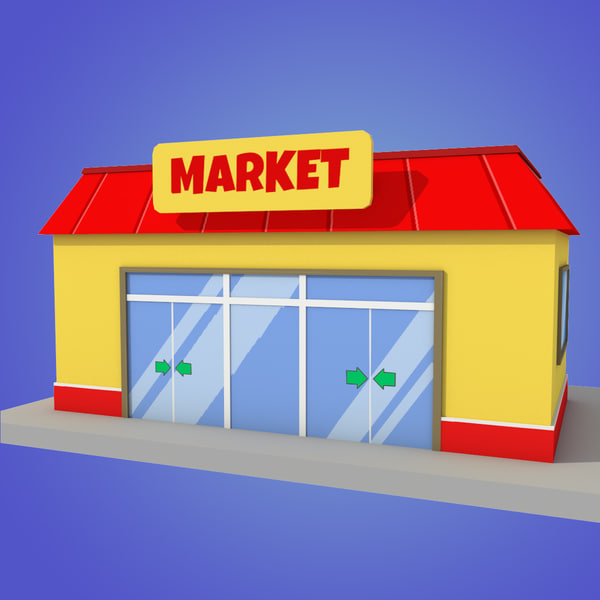 3d model stylized cartoon market