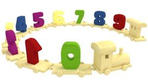 3d model education wooden toy train
