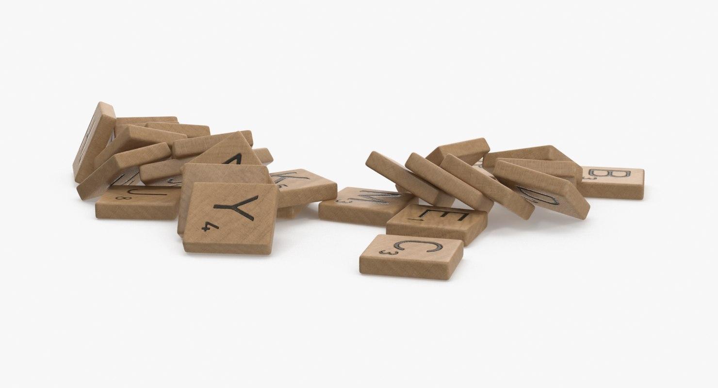 scrabble pieces 3d model