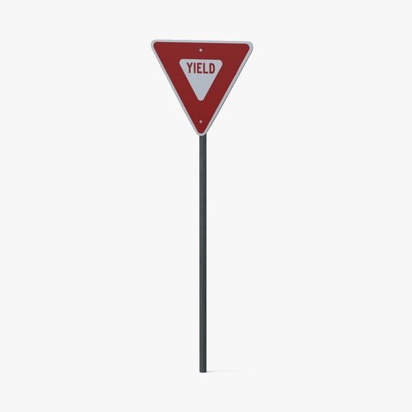 3d model yield sign