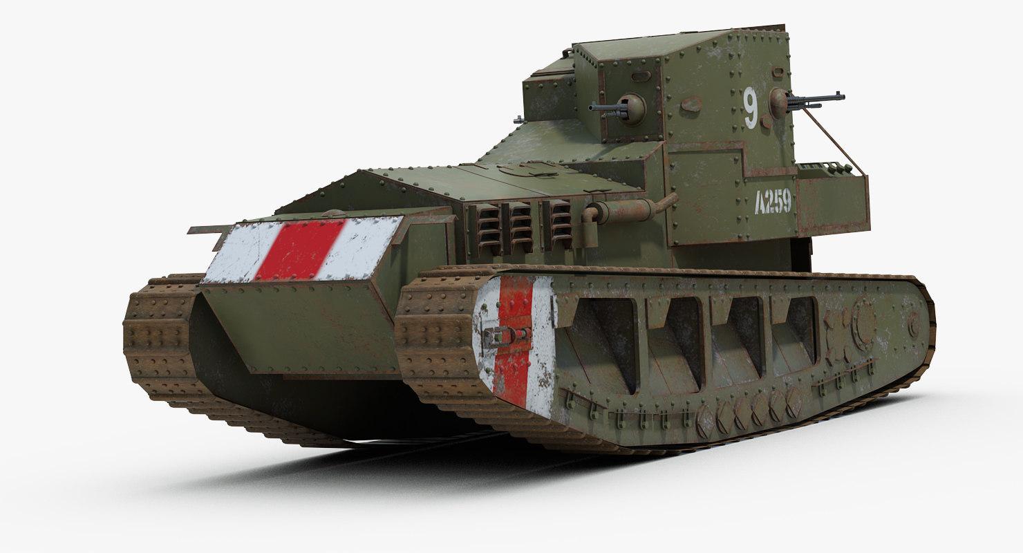 ww1 whippet mark tank 3d 3ds