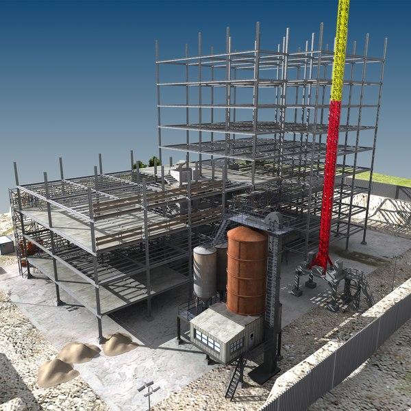 construction houses 3d model
