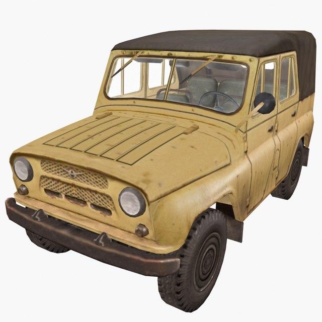 russian uaz 469 yellow 3d max