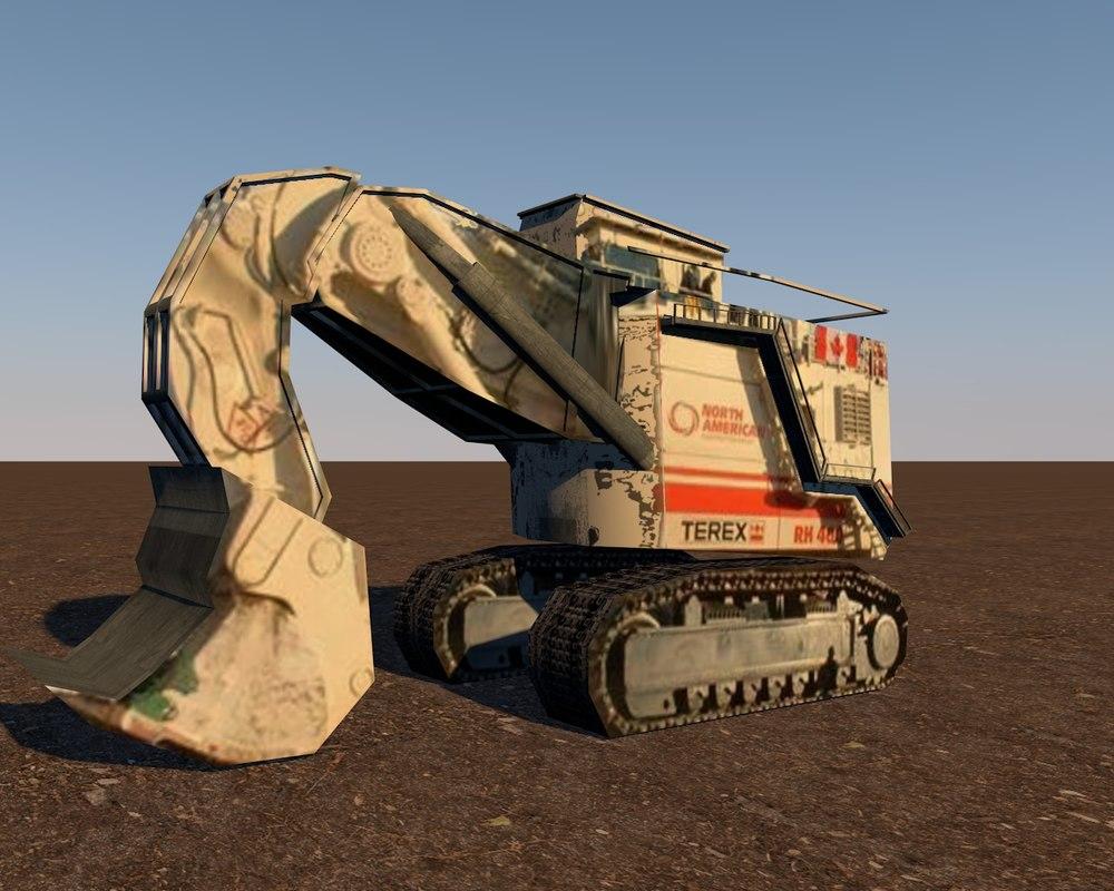 terex rh400 hydraulic mining excavator c4d