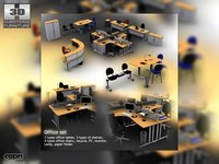office furniture set 12 3d model