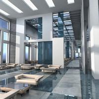 modern interior hall 3d max