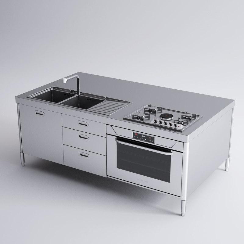 3d model alpes inox kitchen island
