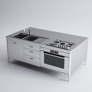 3d model alpes inox kitchen island