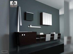 3d model bathroom furniture 05 set