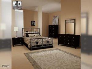 3d model bedroom furniture 17 set
