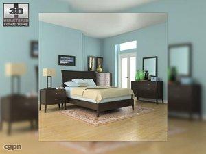 bedroom set 3 bed 3d model