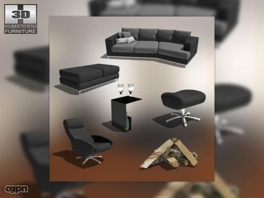 living room 03 set 3d 3ds