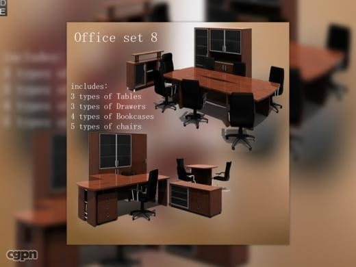 3d office set model