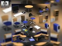 office set 3d 3ds