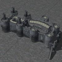set fantasy medieval castle 3d model