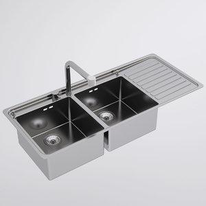 alpes inox kitchen sink 3d model