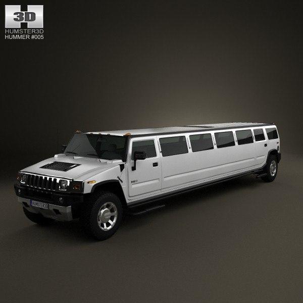 hummer h2 limousine 3d max
