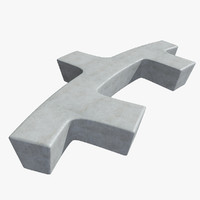 3d concrete bench model