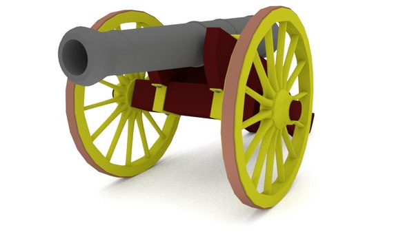 3d model blender old cannon