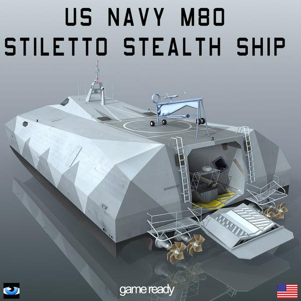 navy m80 stiletto stealth ship 3d model
