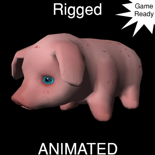 3d model piglet animations ready