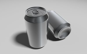3d model of aluminium drinks
