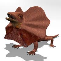 3d model frill necked lizard