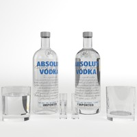 absolut vodka bottle glasses 3d model