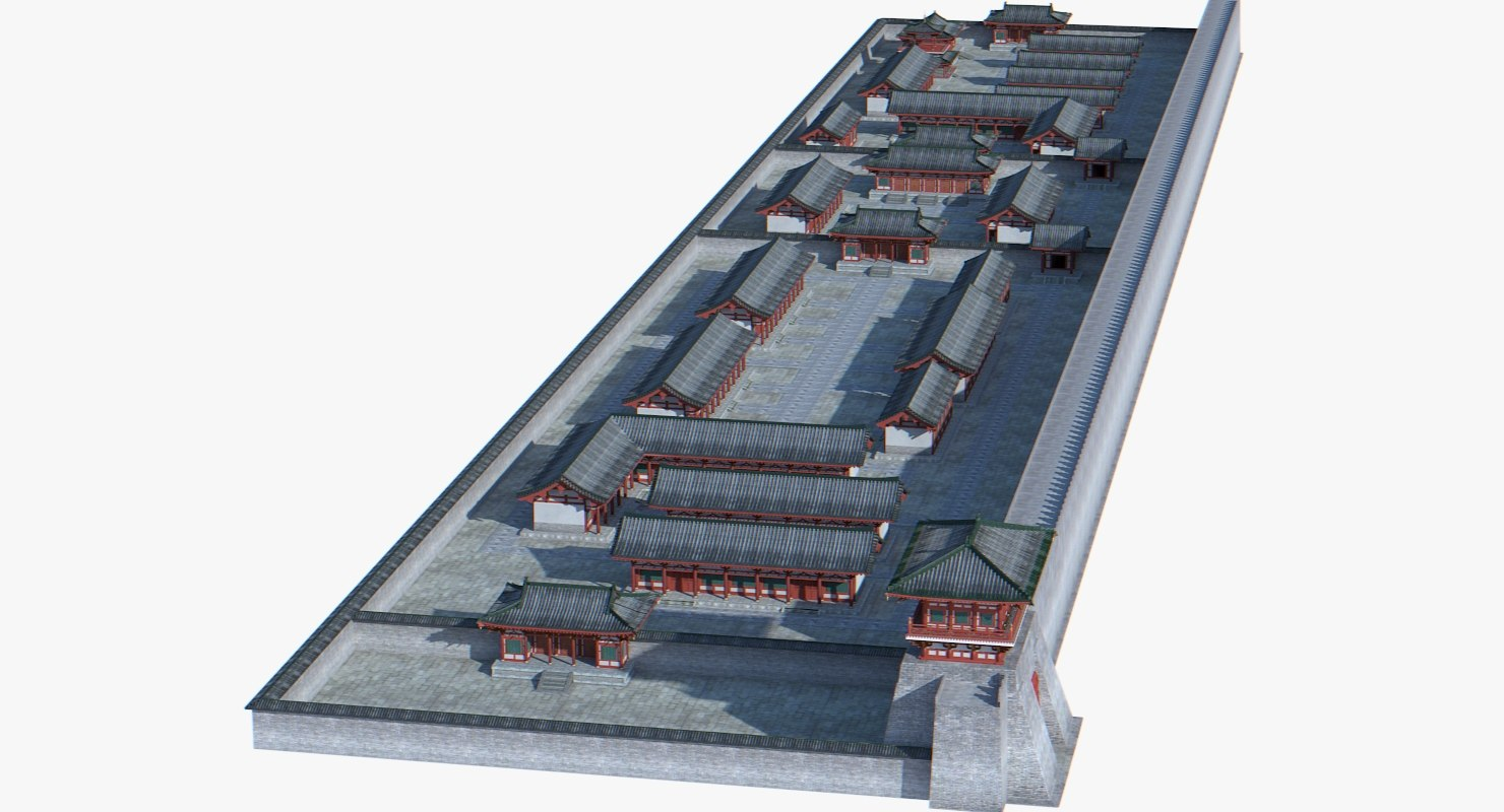 3d model of chinese architectural ancient