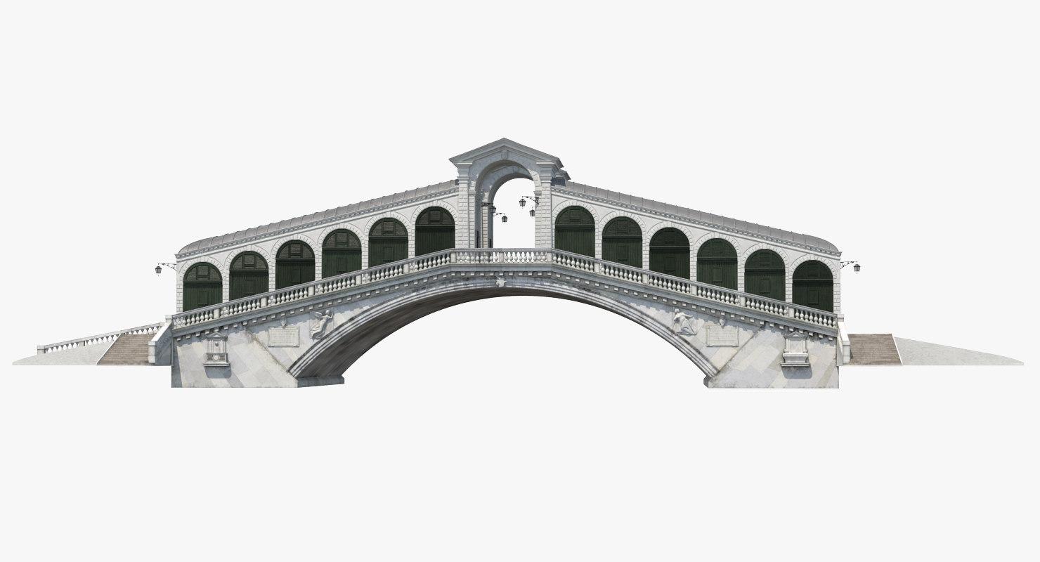 rialto bridge venice 3d model