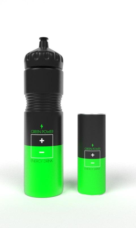 energy drink set 3d 3ds