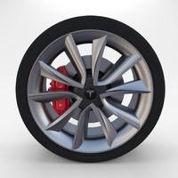 3d tesla 3 wheel model