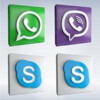 social icons 3d obj