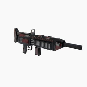 3d sci-fi rifle weapon animation model