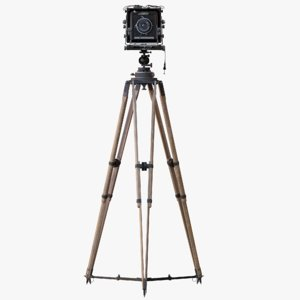 3d model of ebony retro camera tripod