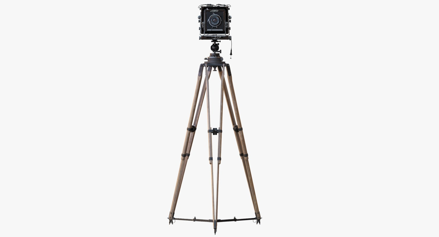 3d model of ebony retro camera tripod