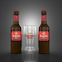 estrella damm beer glass 3d model