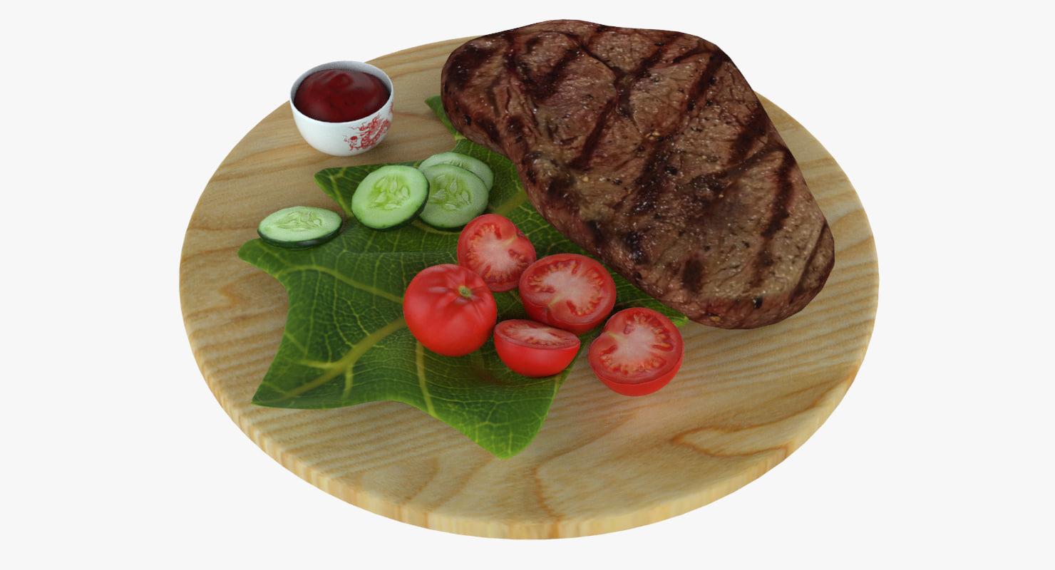 3d model of steak tomato