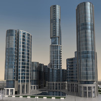 3d model modern city buildings