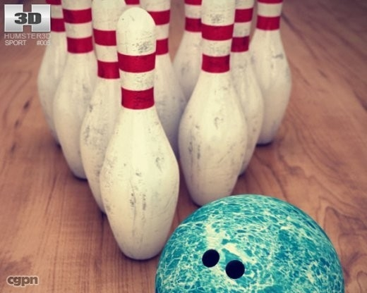 3d 3ds bowling pins amp ball