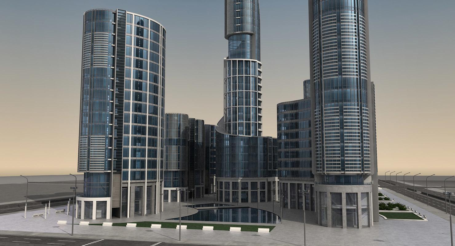 3d model modern city buildings