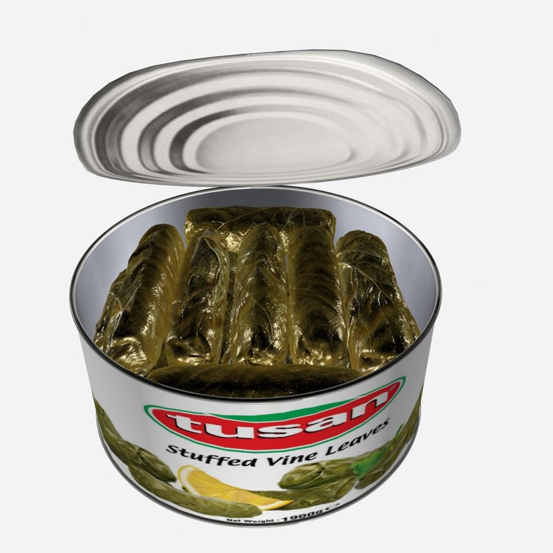 stuffed vine leaves dolmades 3d model
