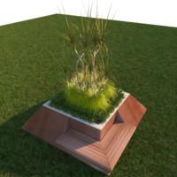 3d modern planter park bench
