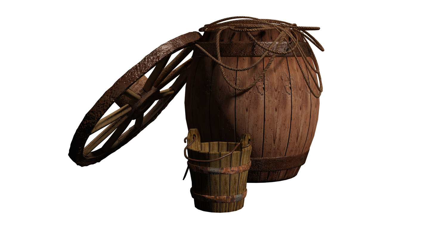 rope wagon wheel bucket 3d model