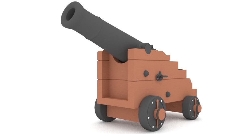 blender naval cannon 3d model