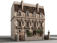 3d model ancient mansion house