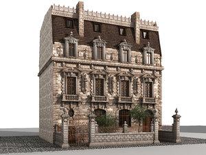3d model ancient mansion house