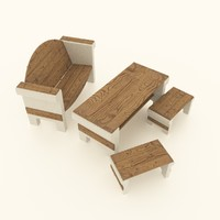 3ds set garden furniture concrete