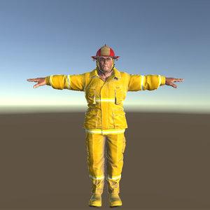 3d model man fireman
