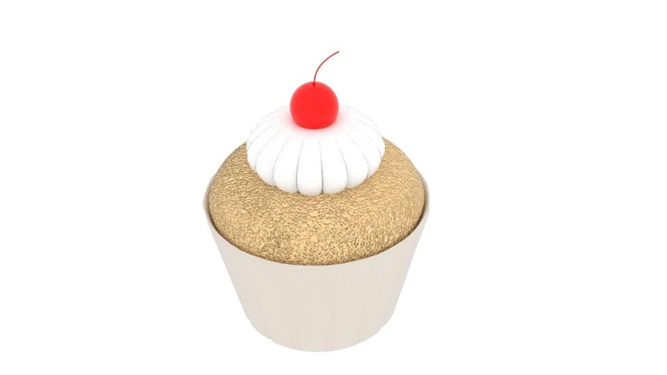 3d cherry cupcake model